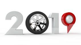 illustration 3D av 2019, den nya milleniet, ett symbol med ett bilhjul och ett GPS navigeringstift, idén av teknologidevelopmen royaltyfri illustrationer