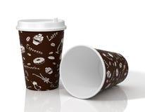 illustration 3D av den pappers- koppen med det dekorativa trycket och locket Royaltyfria Bilder