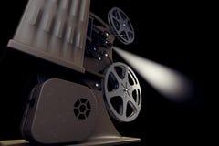 illustration 3D av den Retro filmprojektorn med den ljusa strålen Arkivfoto