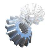 illustration 3d av den tekniska teckningsritningen och metallkugghjulet Royaltyfria Foton