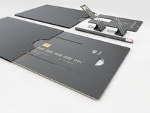 illustration 3d av den tomma mallen för USB bildkort för företags identitet på isolerade grå färger royaltyfri fotografi