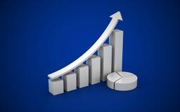 illustration 3d av det finansiella diagrammet stock illustrationer