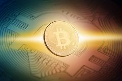 illustration 3d av det guld- myntet för bitcoin Royaltyfri Bild