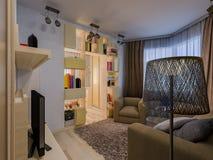 illustration 3D av det kombinerade teckningsrummet och barnkammaren Arkivfoton