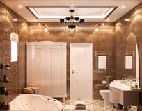 illustration 3D av det neoclassic badrummet Royaltyfria Foton
