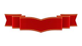 illustration 3D av det skinande röda bandet med guld- remsor vektor illustrationer