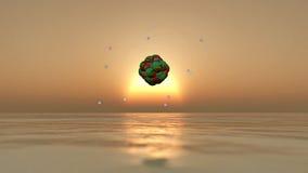 illustration 3D av en atom Arkivbilder