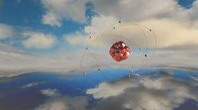 illustration 3D av en atom Arkivbild