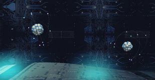 illustration 3D av en atom Arkivfoto