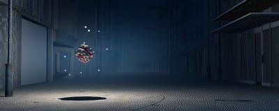 illustration 3D av en atom Arkivfoton