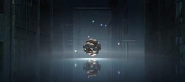 illustration 3D av en atom Royaltyfri Foto
