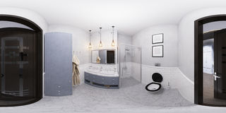 illustration 3D av en badruminredesign Royaltyfri Bild