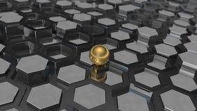 illustration 3D av en bakgrund av mångfalden av platinametall och den guld- bollen, en sfär Idén av affären, rikedom och prosp vektor illustrationer