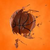 illustration 3d av en basketboll royaltyfri illustrationer
