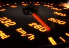 illustration 3D av en bilhastighetsmätare med visaren upp på 260km per Fotografering för Bildbyråer