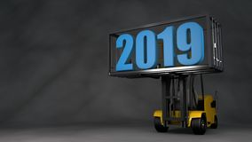 illustration 3D av en gaffeltruck i en mörk studio som lyftte en behållare med ett datum för nytt år 2019 Idén för en kalender, vektor illustrationer