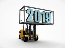 illustration 3D av en gaffeltruck som lyftte en behållare med ett datum för nytt år 2019 Idén för en kalender som transporterar f stock illustrationer