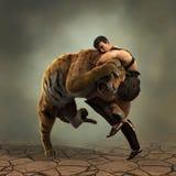 illustration 3D av en gladiatorstridighet med en tiger royaltyfri illustrationer