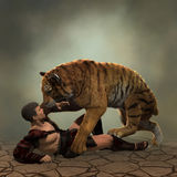 illustration 3D av en gladiatorstridighet med en tiger Royaltyfri Bild