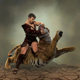 illustration 3D av en gladiatorstridighet med en tiger Royaltyfria Bilder