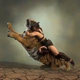 illustration 3D av en gladiatorstridighet med en tiger Arkivbilder