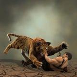 illustration 3D av en gladiatorstridighet med en tiger stock illustrationer
