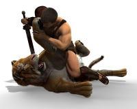 illustration 3D av en gladiatorstridighet med en tiger som isoleras på vit bakgrund royaltyfri illustrationer