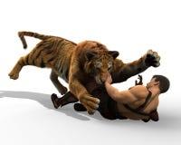 illustration 3D av en gladiatorstridighet med en tiger som isoleras på vit bakgrund Royaltyfri Foto