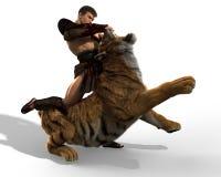 illustration 3D av en gladiatorstridighet med en tiger som isoleras på vit bakgrund Royaltyfria Foton