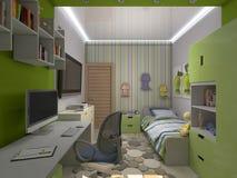 illustration 3d av en grön barnkammare för en pojke Arkivbilder