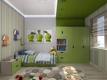 illustration 3d av en grön barnkammare för en pojke Arkivbild