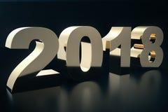 illustration 3d av en guld- text på en svart bakgrund med reflexion på golvet 3d lyckligt nytt år för text 2018 Guld Arkivbilder