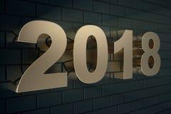 illustration 3d av en guld- text på en svart bakgrund med reflexion på golvet 3d lyckligt nytt år för text 2018 Guld Royaltyfri Bild