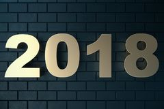 illustration 3d av en guld- text på en svart bakgrund med reflexion på golvet 3d lyckligt nytt år för text 2018 Guld Arkivfoto