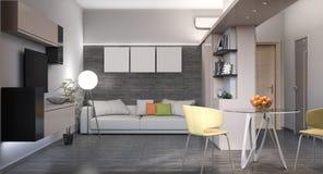 illustration 3D av en liten lägenhet Royaltyfria Bilder