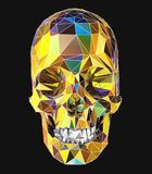 illustration 3d av en mänsklig skalle med färgrik låg poly yttersida