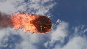 illustration 3D av en meteorit som är brinnande upp i atmosfären för jord` s Arkivfoton