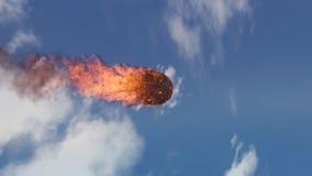 illustration 3D av en meteorit som är brinnande upp i atmosfären för jord` s Royaltyfri Bild