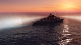 illustration 3d av en slagskepp i det öppna havet på solnedgången vektor illustrationer