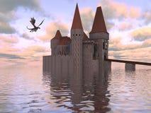 illustration 3D av en slott på vattnet och draken Arkivbild