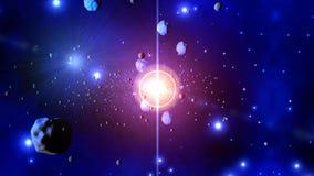 illustration 3D av en stjärn- explosion som kastar asteroider Royaltyfria Bilder