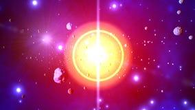 illustration 3D av en stjärn- explosion som kastar asteroider Royaltyfri Fotografi