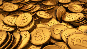 illustration 3D av en stor grupp av guld- Bitcoins Royaltyfria Foton