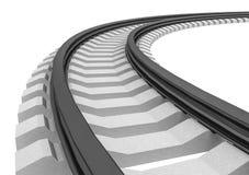 illustration 3D av enkelt krökt ett isolerat järnvägspår Arkivfoton