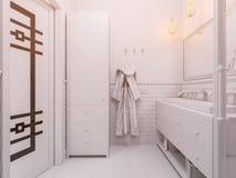 illustration 3d av ett badrum för inredesign Arkivbilder