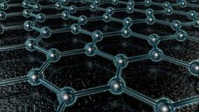 illustration 3D av ett glödande kristallgaller av graphene, kolmolekyl, superledare, material av framtiden, på ett mörker stock illustrationer