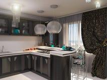 illustration 3D av ett kök i stil av en art déco Arkivbilder