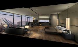 illustration 3D av ett modernt sovrum Arkivbilder