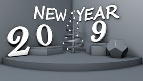 illustration 3D av ett rum med ett symbol av det nya året, 2019 objekt på diagramen och en stilistisk julgran i hörnet stock illustrationer