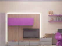 illustration 3D av ett sovrum för unga flickan Arkivfoton